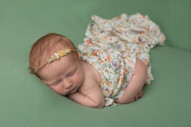 Newborn Photographer Northampton baby girl in green