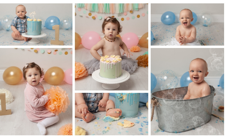 Collage of Cake Smash Photo Shoot pictures boys and girls first birthday
