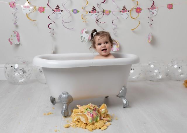 First birthday cake smash Milton Keynes baby girl