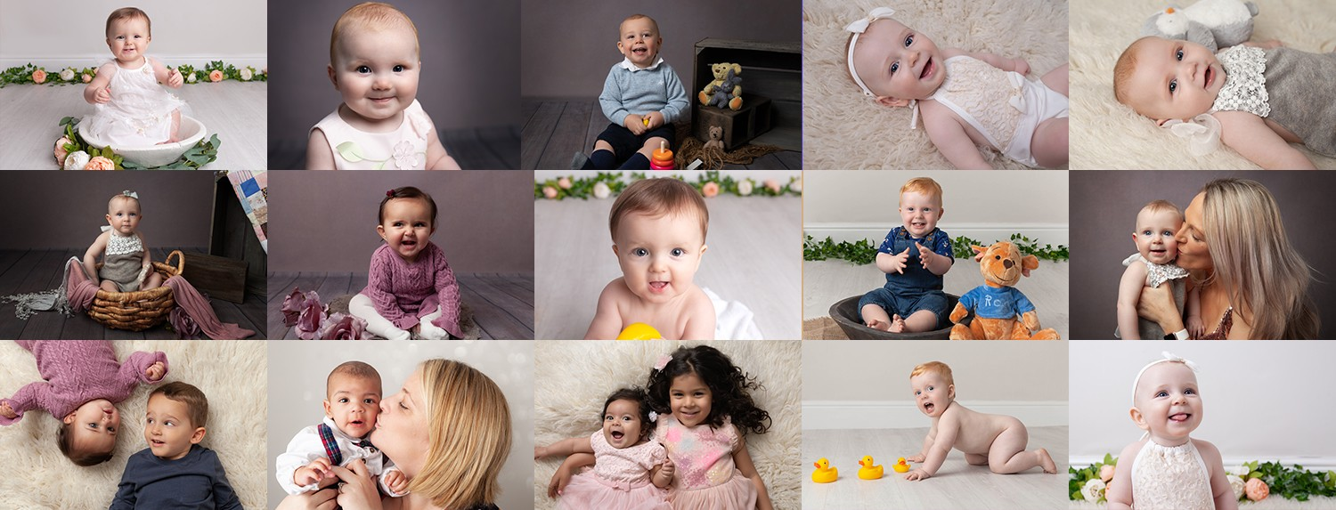 Collage of baby photographs by baby photographer Olney, Milton Keynes, Northampton, Bedford collage of photos of older babies