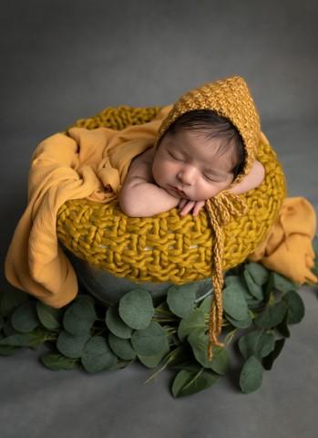 Newborn photographer in Milton Keynes captures image of baby boy in bucket sleeping