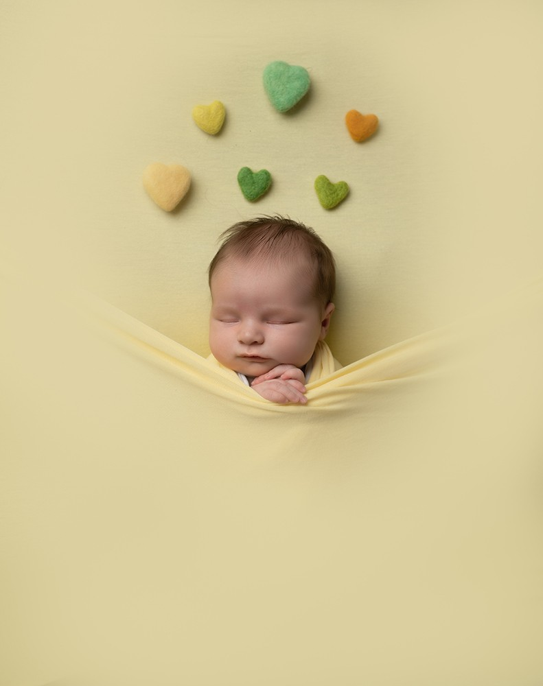 Newborn Photographer Northampton baby girl in yellow