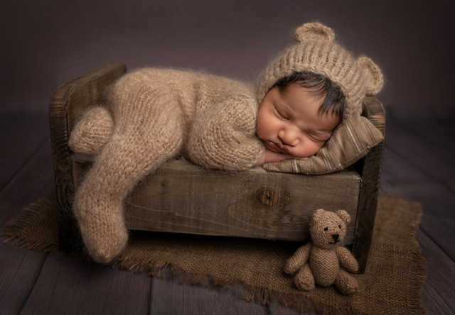 Newborn Photographer in Milton Keynes baby boy in teddy bear outfit