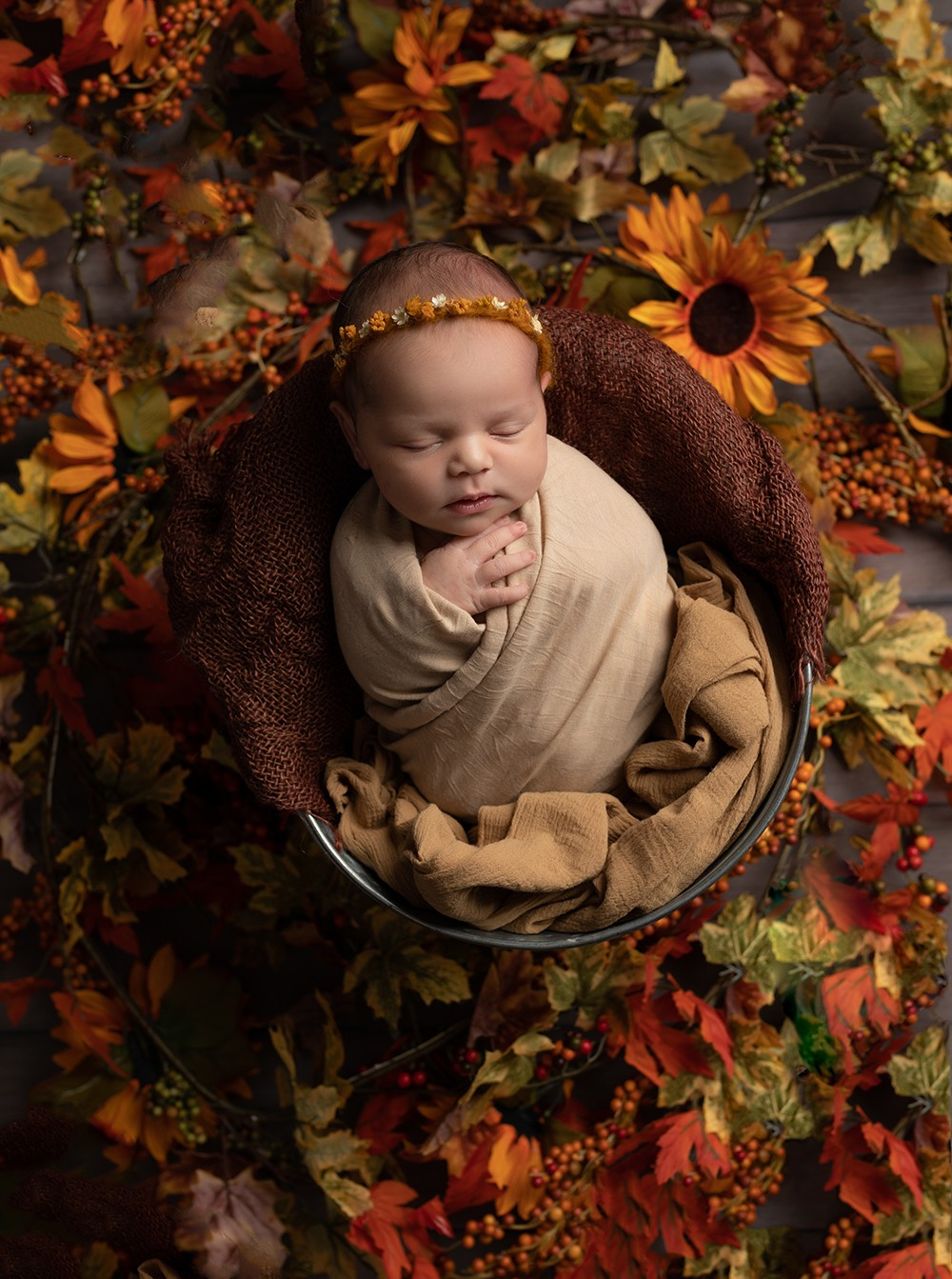Newborn Photographer in Milton Keynes autumnal colours with baby girl