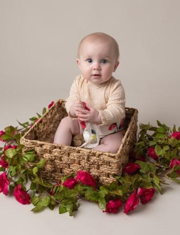 Baby Photographer Bedford baby girl in basket