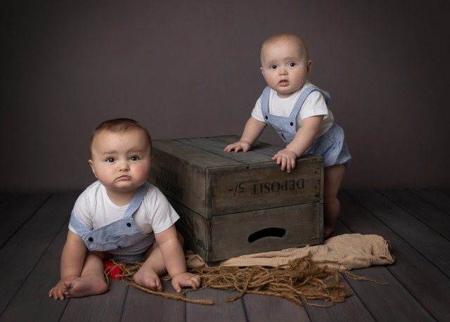 Baby Photographer Bedford baby twin boys 6 months