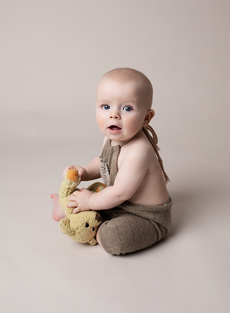 Baby Photographer Bedford baby boy with teddy bear photograph 6 months