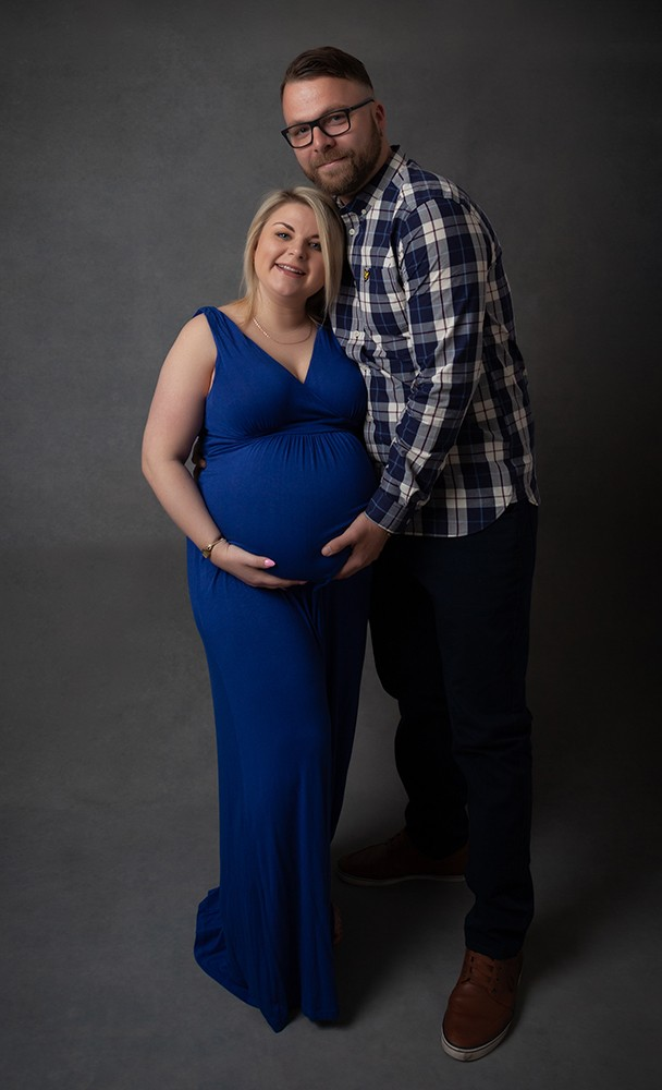 Couple pregnancy photoshoot with blue dress Maternity Photographer Milton Keynes and Northampton