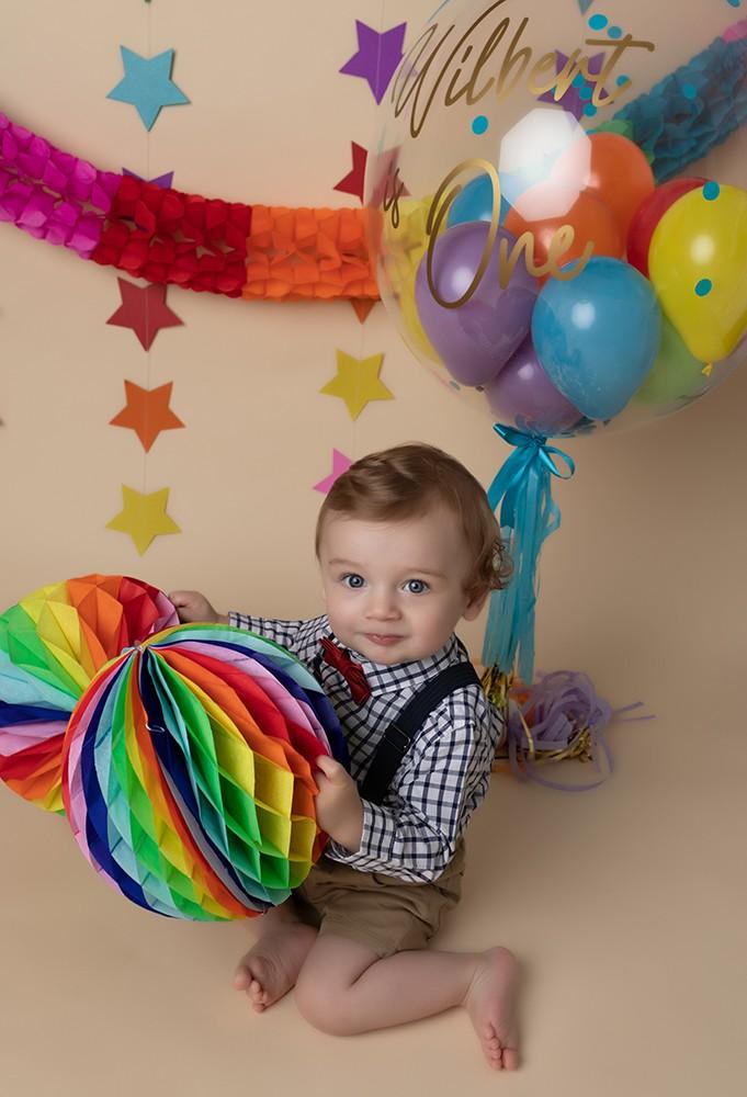 Cake Smash Milton Keynes rainbow cake smash baby boy first birthday photoshoot