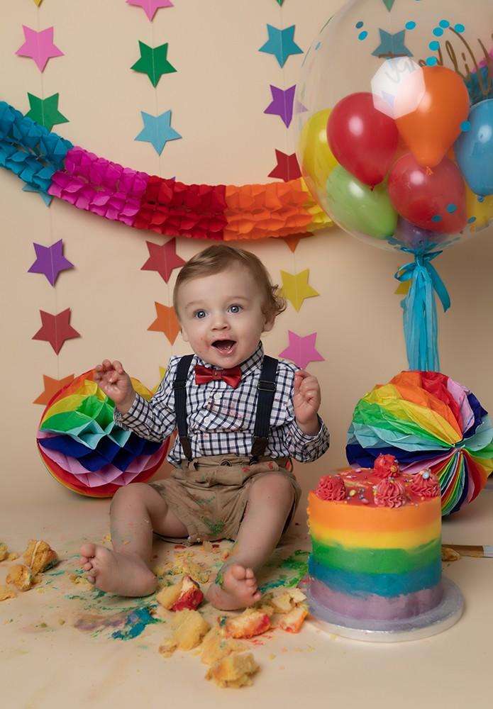 Cake Smash Milton Keynes baby boy rainbow themed first birthday photoshoot