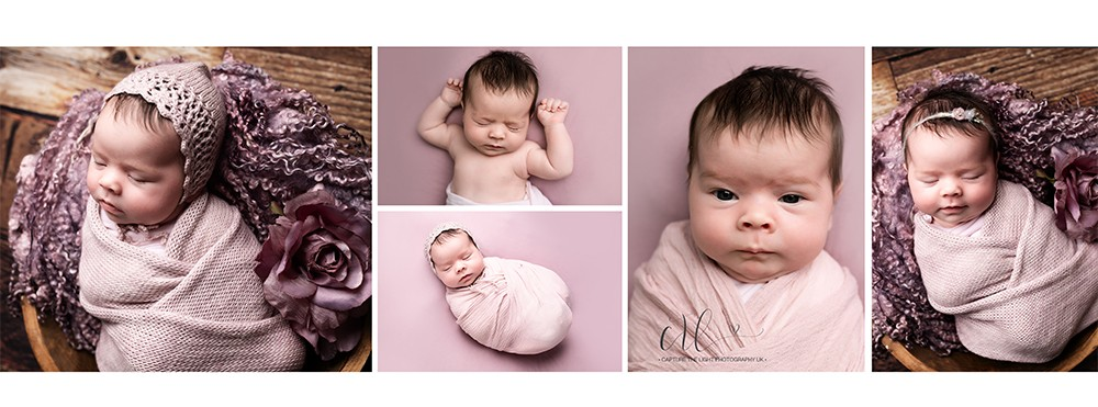 cheap budget newborn photography Northampton, milton keynes and bedford with baby girl in pink