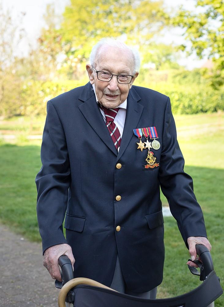 Captain Tom Moore in his garden in Bedfordshire, preparing to walk the last 10 laps of his pario