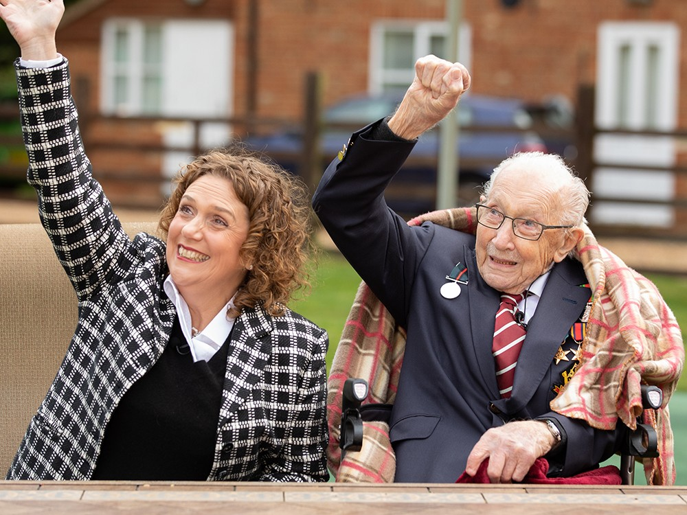 Captain Tom watches flypast on his 100th Birthday