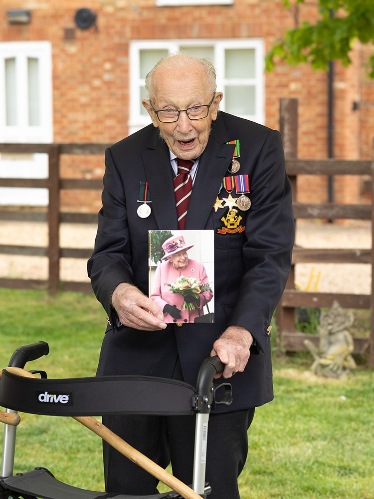 Captain Tom Moore receives a Birthday Card from the Queen on his 100th Birthday