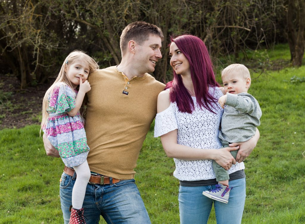 Family with two children on location photography near bedford by Family Photographer Milton Keynes