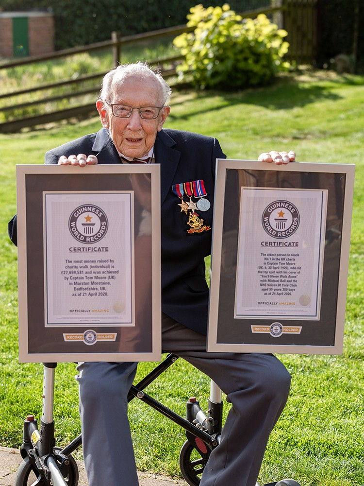 Captain Tom Moore with his two Guinness World Records