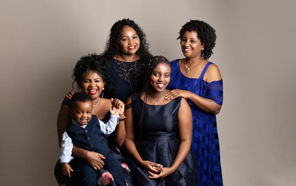 extended family portrait in studio by Family Photographer Milton Keynes