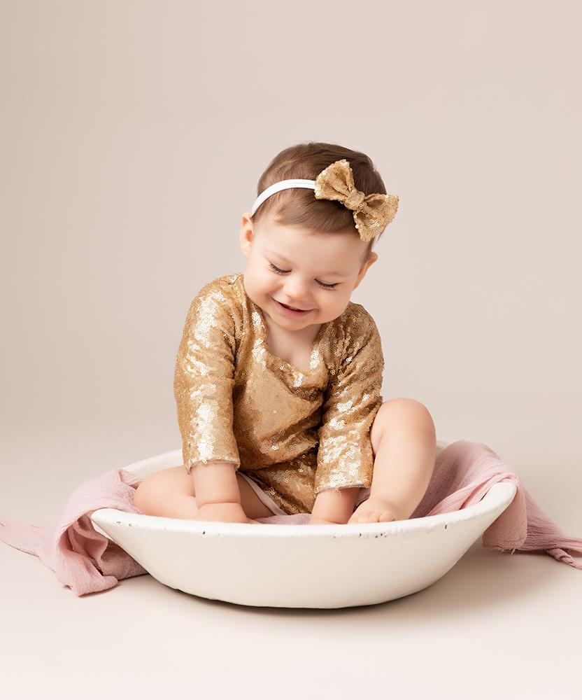 baby girl sparkly outfit at Cake Smash Milton Keynes