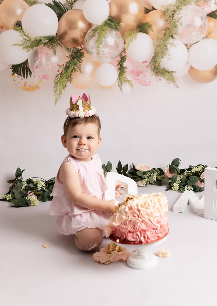 baby girl at first birthday Cake Smash Milton Keynes